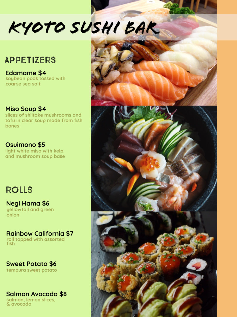 japanese sushi Free Simple Menu Templates For Restaurants