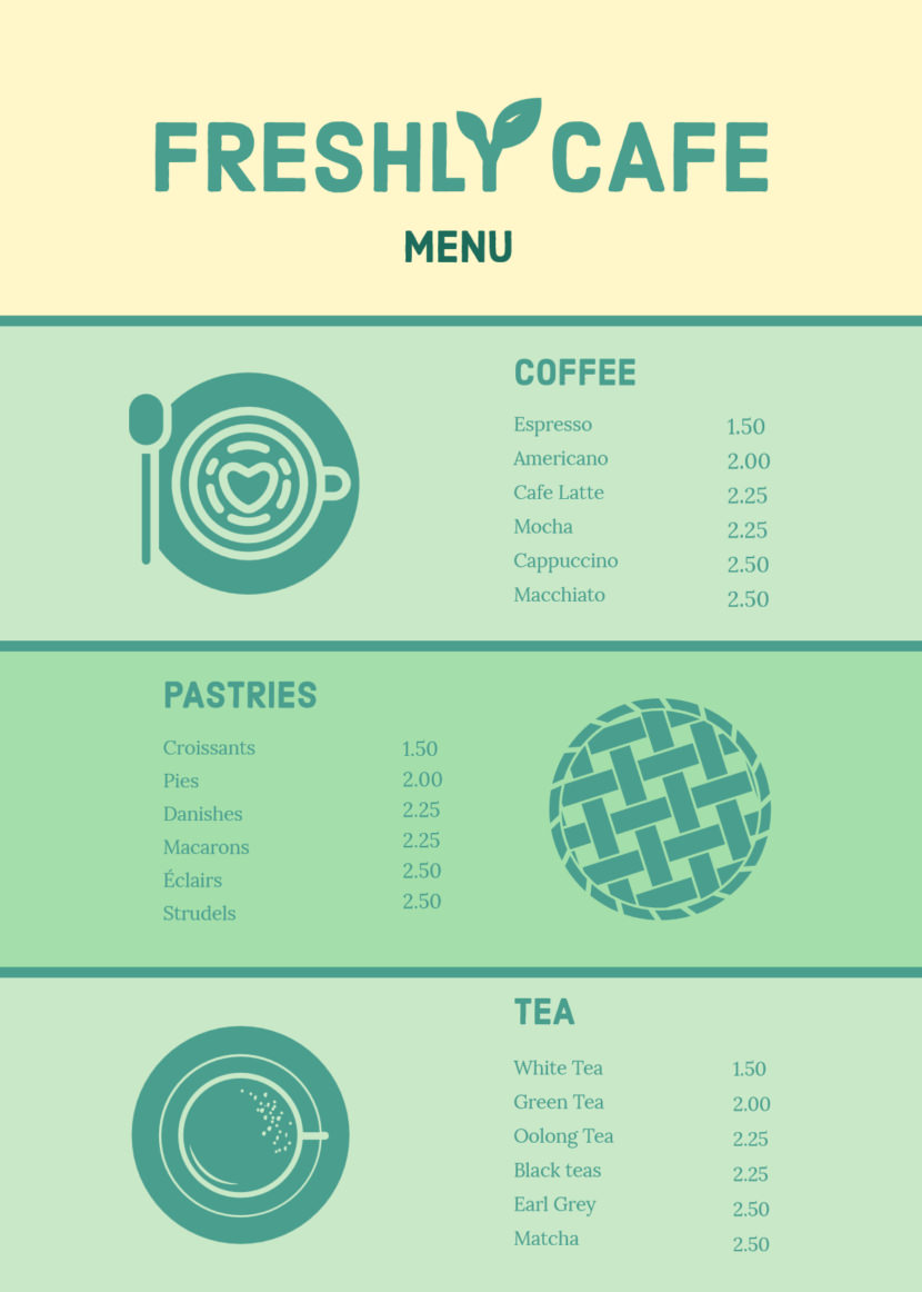 coffee cakes Free Simple Menu Templates For Restaurants