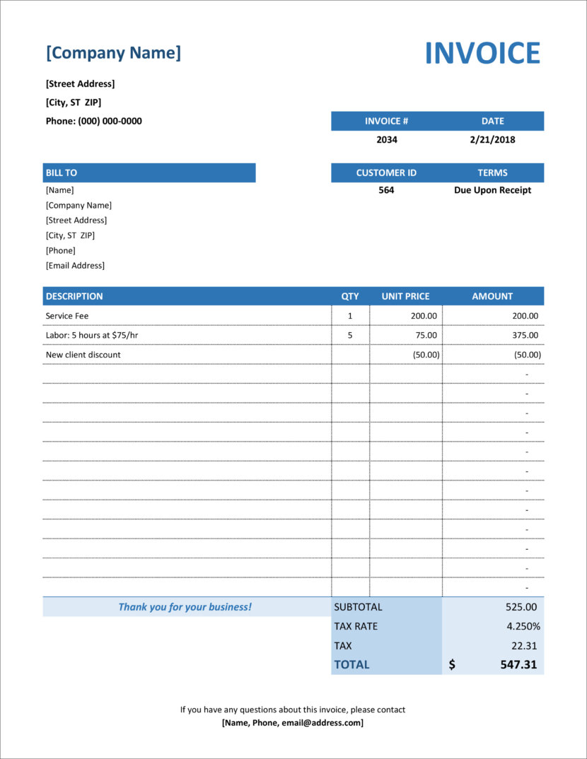 Microsoft Office Excel xlx xlsx Free Invoice Templates In Microsoft Excel And DOCX Formats