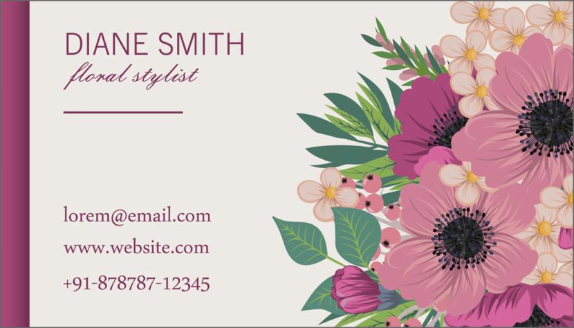 Screenshot of blank Florist Business Card Template