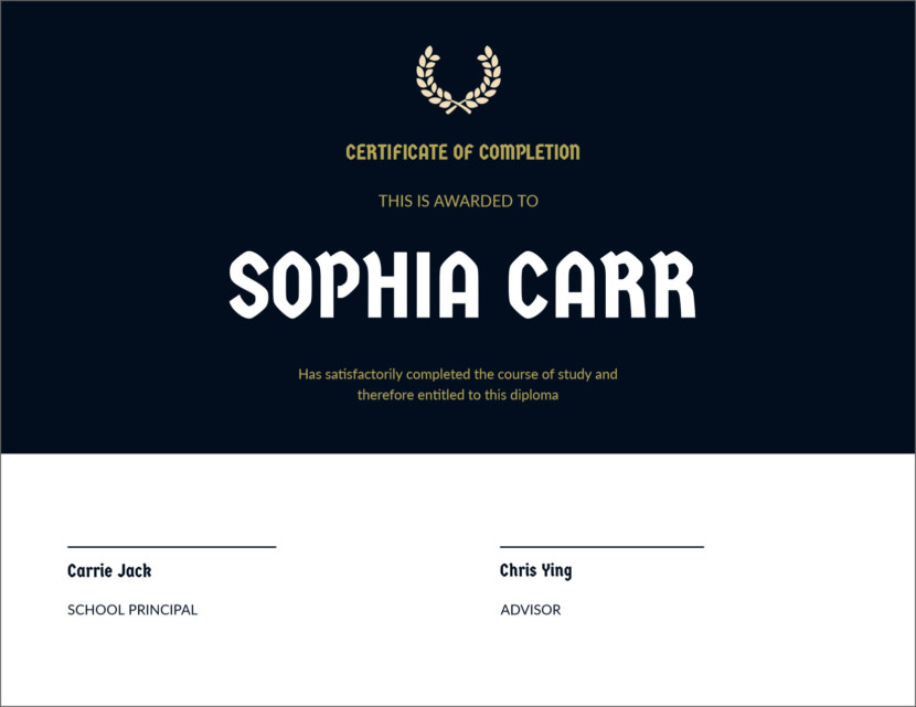 course completion Blank Certificate Templates