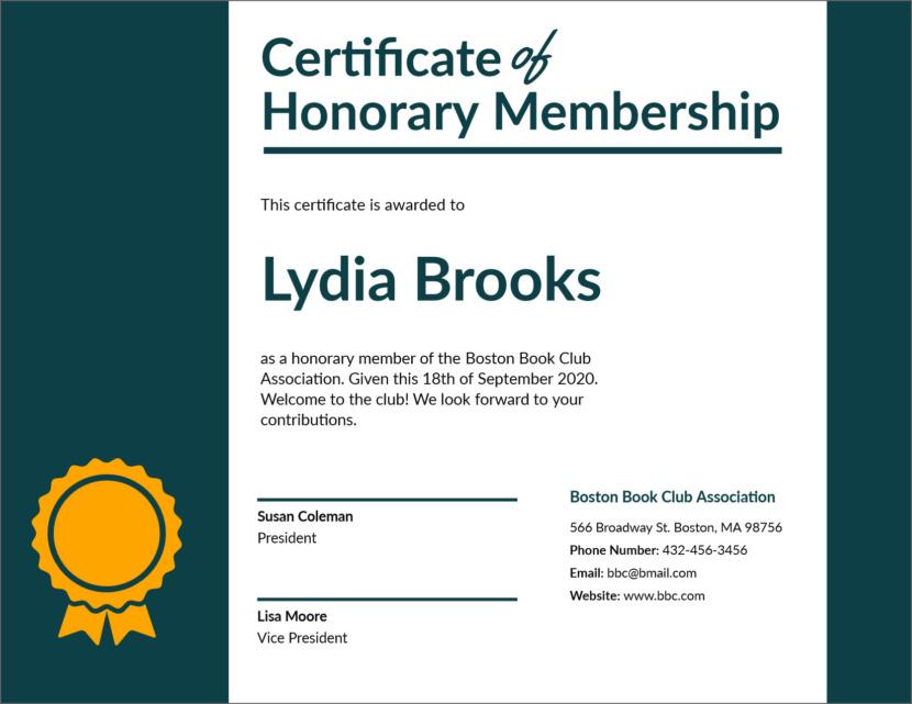 membership Blank Certificate Templates