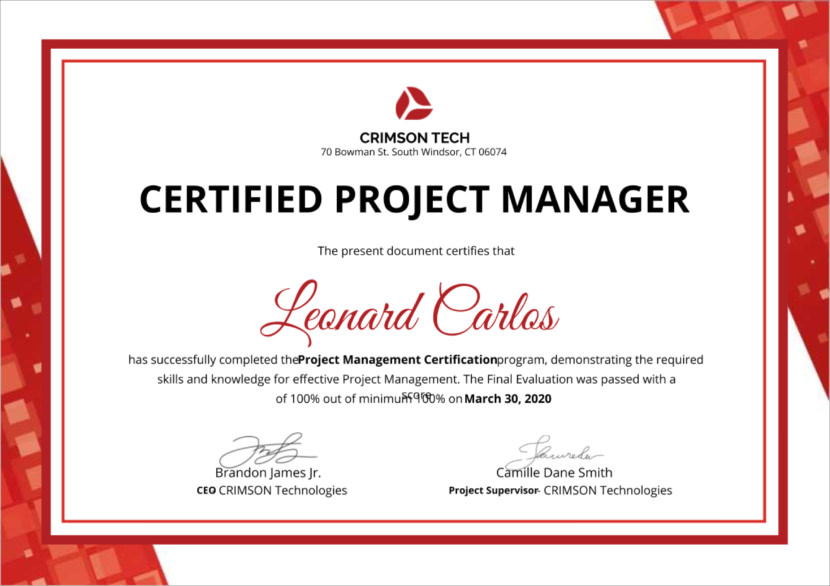 project manager Blank Certificate Templates