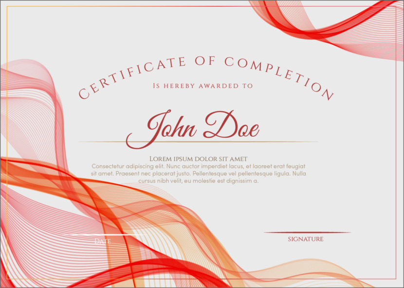 Red Ribbon Blank Certificate Templates