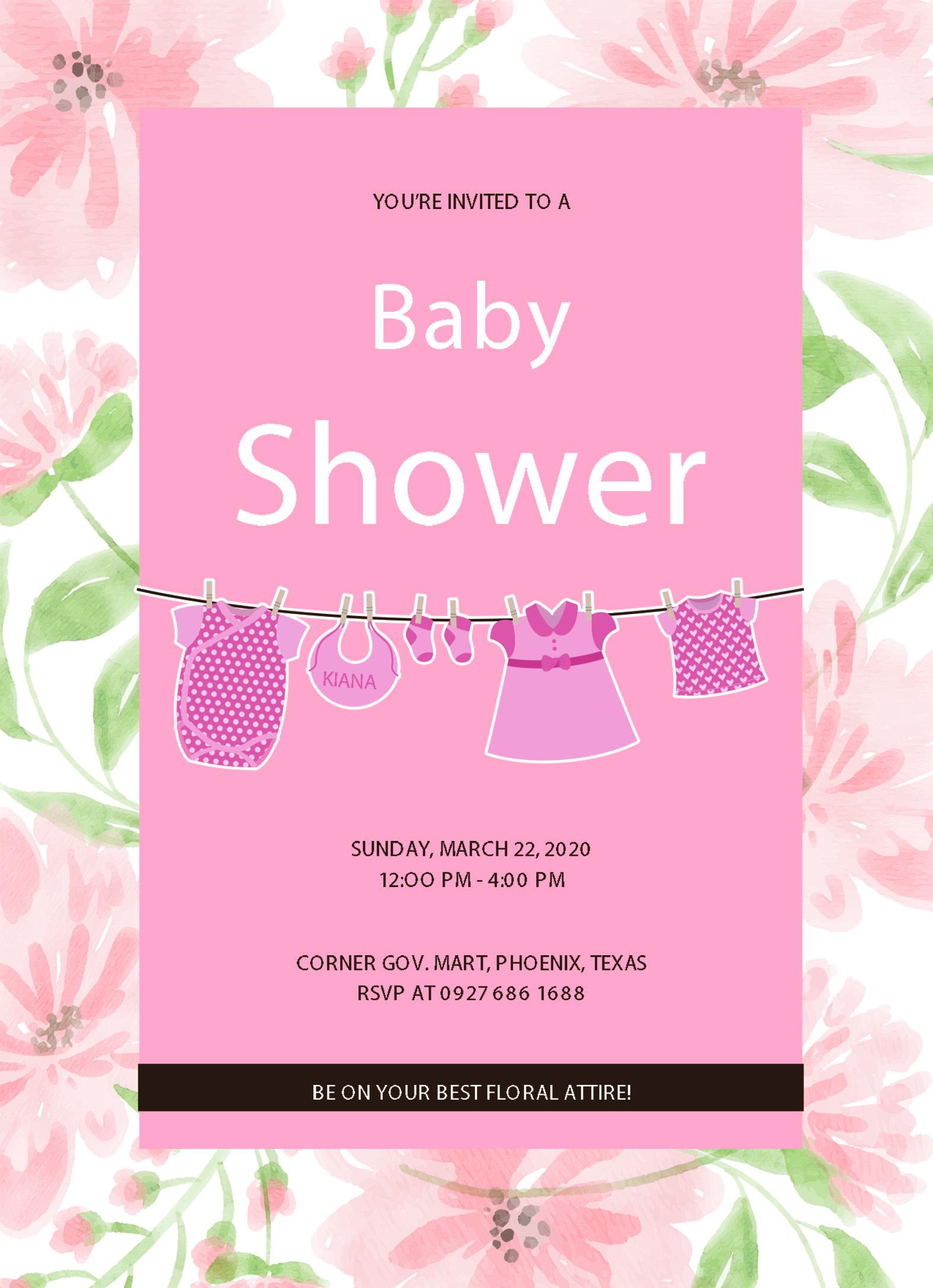 5 Free Editable Baby Shower Invitation Card Templates