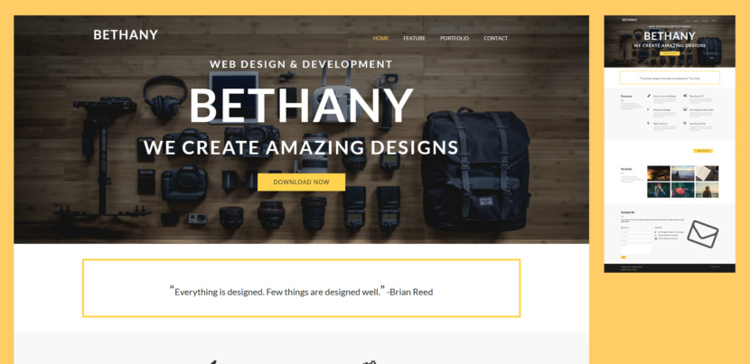 Bethany is a stylish and unique free bootstrap template for modern web designers. It comes with clean and flat style, it fitted to you who like minimal and modern design. This free bootstrap website template is used for creative agency, portfolio, photography and corporate business.