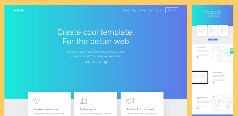 Sublime is a free responsive Bootstrap website template perfect to use as a landing page for corporate, business, startup, office, agency and general purposes. It has a smooth scroll animation it has also beautiful and elegant login and signup and pricing table pages. Built using sass and gulp for easy to customize.