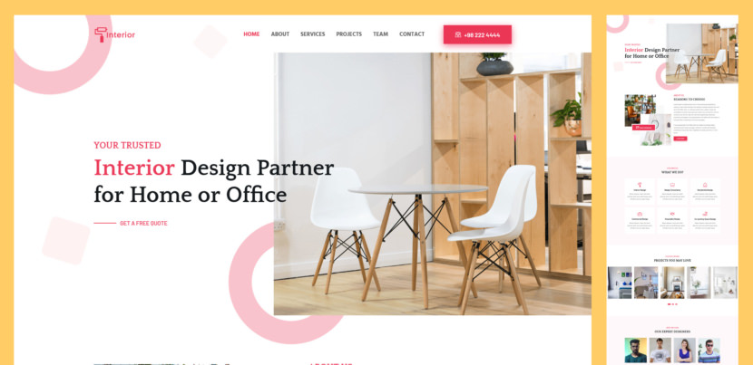 Interior is free and premium bootstrap template for interior design, architecture and engineering consultancy websites. It comes with practical stunning design and all essential UI elements you need to create a user-friendly complete website for interior design or similar service providers.