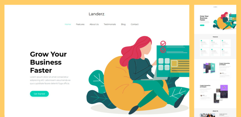 Landerz is your go-to solution when in search of the best free business landing page website template. This responsive Bootstrap Framework tool rocks the online world with a contemporary, clean and light web design that will spark their curiosity.